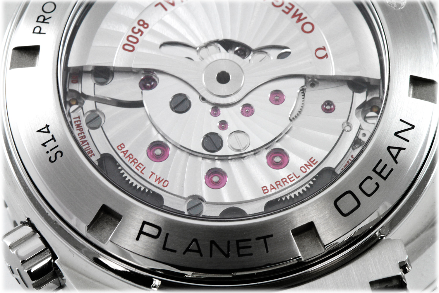 The self-made replica Omega 8500 has coaxial escapement systems.