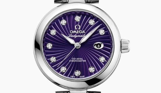 The eye-catching replica Omega De Ville 425.30.34.20.60.001 watches have purple dials.