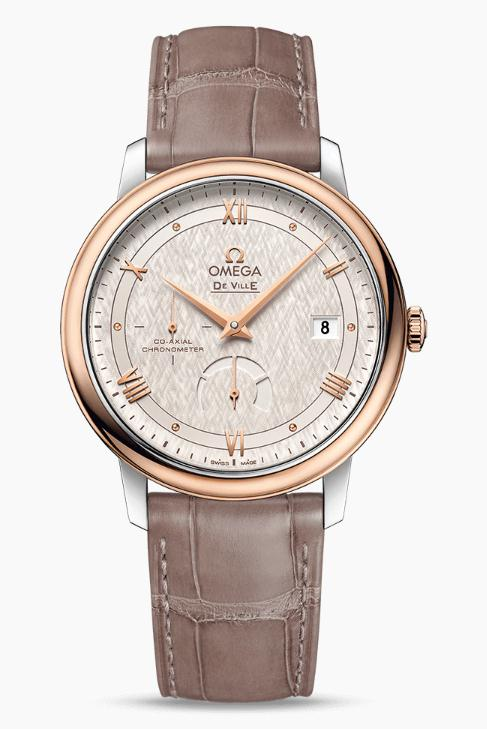 The durable copy Omega De Ville Prestige 424.23.40.21.02.001 watches are made from stainless steel and red gold.