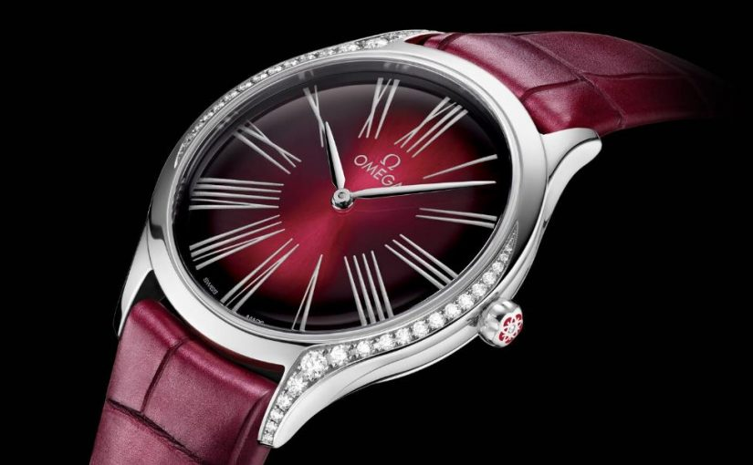 Three Female Replica Omega De Ville Watches With Red Alligator Leather Straps For Mother's Day