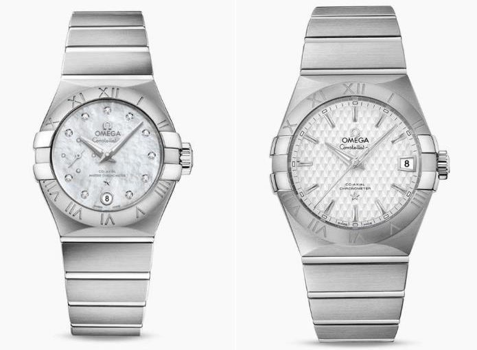 Two Stainless Steel Replica Omega Constellation Watches For Couples