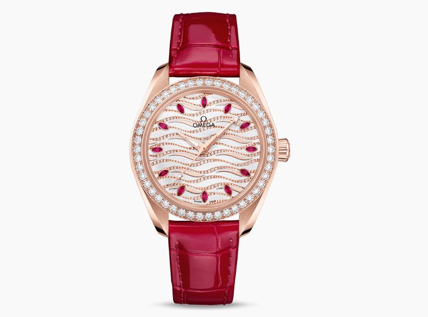 The female copy watches have red straps.