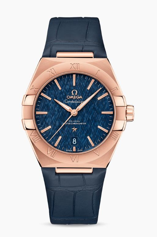 The blue dials copy watches have blue leather straps.