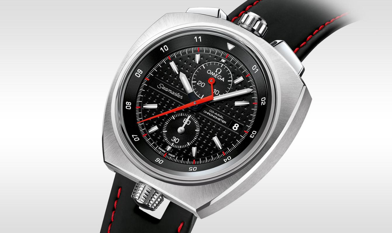 The stainless steel copy watches have black leather straps.