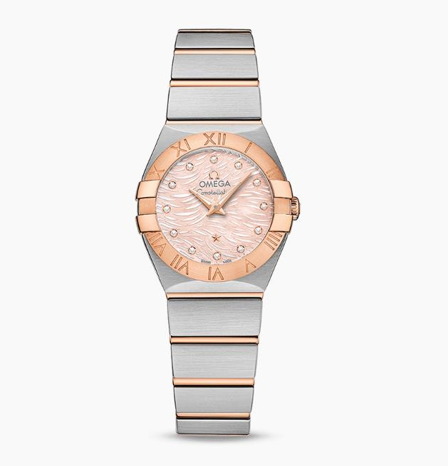 The pink dials fake watches have diamond hour marks.