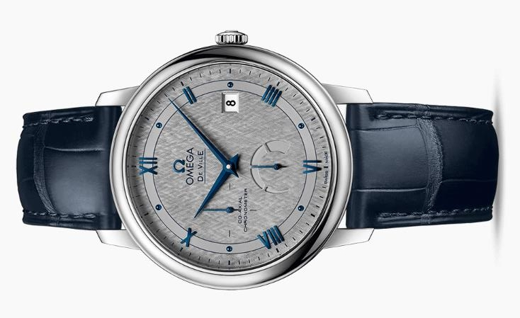 UK Exquisite Fake Omega De Ville 424.13.40.21.06.002 Watches With Blue Alligator Leather Straps