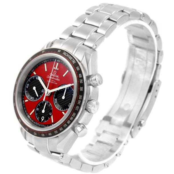 The stainless steel fake watches have red dials.